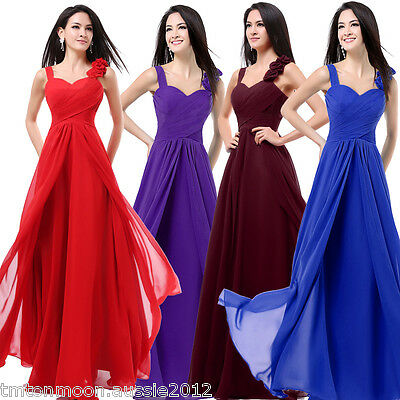 Chiffon Formal Long Wedding Prom Gown Bridesmaid Cocktail Party Evening Dress