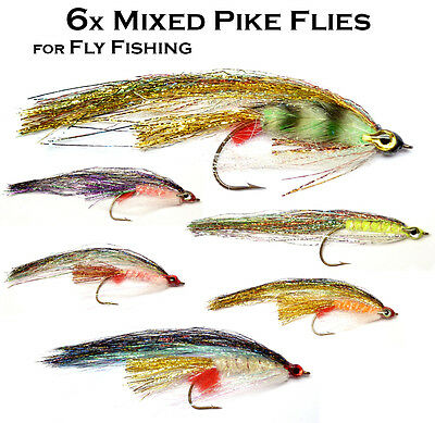 Set of 6 MIXED PIKE FLIES for Pike, Saltwater, Salmon & Predator Fly Fishing