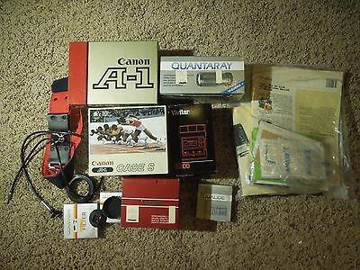 Lot of A1 Canon Camera & Accessories Lot - Flash, Quantaray Scope, Vivitar etc