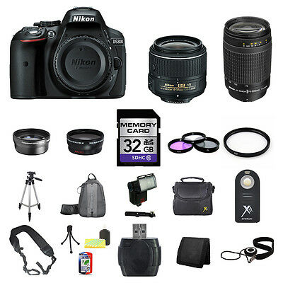 Nikon D5300 SLR Digital Camera - Black w/18-55mm & 70-300mm Lenes 32GB Full Kit