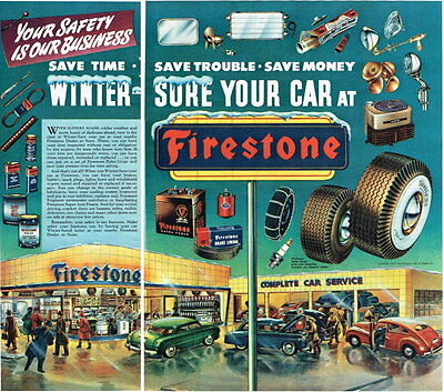 Tires Firestone 1948 Fold out paper ad 14 x 15 inches Tavern Trove
