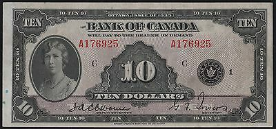 "Canada #bc-7 $10 1935 Issue ""english"" Xf+ Note Wl6580"