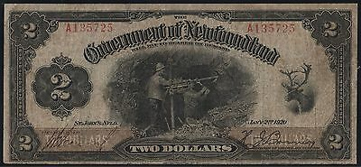 NEWFOUNDLAND #NF-13d $2 1920 ISSUE F-VF NOTE WL6582