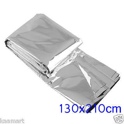 2x Mylar Rescue Space Foil Thermal Emergency Blanket Camping Hiking 130 X 210cm