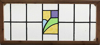 Large Antique Stained Glass Transom Window Four Color Arts n Crafts Tulip (2552)