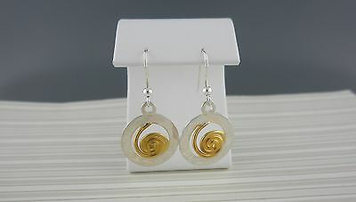 Two Tone Celtic Spiral of Life Circle Earrings Made in Ireland by Barry Doyle