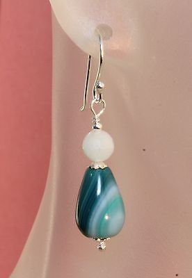 Natural Botswana & Amazonite Gemstone Drop Dangle Earrings 925 Sterling Silver