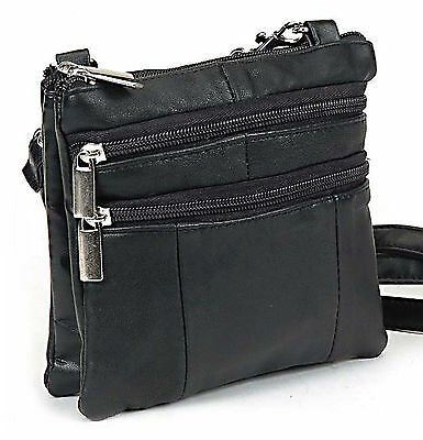 Roma Leathers Black Genuine Lambskin Mini Crossbody Travel Purse Handbag Bag