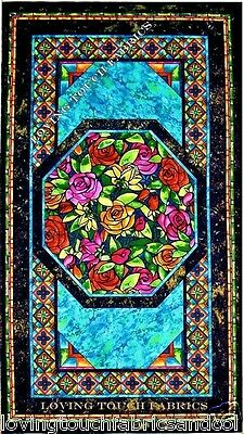 "Beautiful Victorian Faux Stained Glass Roses Marble Fabric Panel 24"" X 43"""