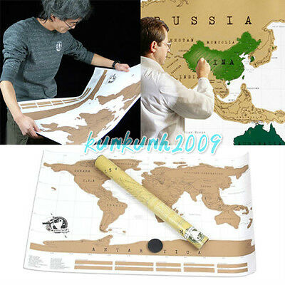 Scratch Off World Map Poster Traveler Travel Vacation Log Personalized  Gift USA