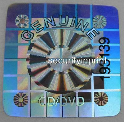 CD / DVD Hologram Holographic Stickers Silver labels +serial numbers 22mm Square