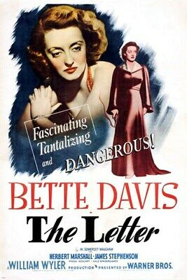 BETTE DAVIS is dangerous in THE LETTER vintage movie poster HIGH DRAMA 24X36