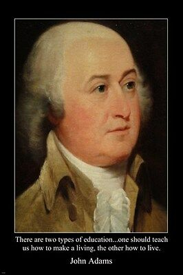 portrait JOHN ADAMS 2nd PRESIDENT USA FOUNDING FATHER poster 24X36 QUOTE