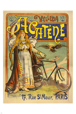 vintage ad poster ACATENE METROPOLE BICYCLE rare prized STYLE 24X36 FRENCH