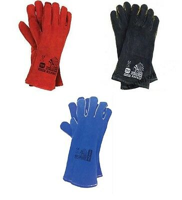 WELDING LEATHER GLOVES GAUNTLETS WELDERS RED & BLACK 1,6,12 pairs.