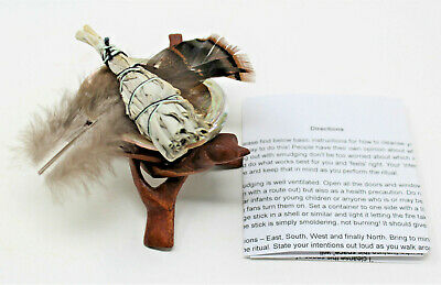 Small Abalone Shell, Tripod Stand, White Sage Smudge Stick & Feather Smudge Kit