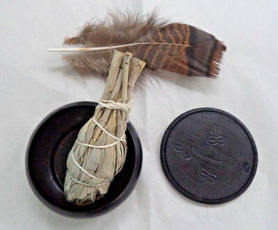 Smudge Pot & Cover, White Sage Smudge Stick & Feather Set (Smudging, Cleansing)