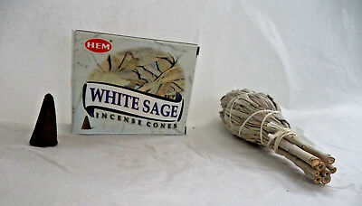 White Sage Smudge Stick & 10 White Sage Incense Cones (Smudging, Cleansing)