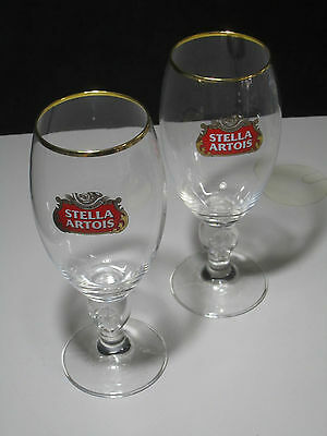 2 NEW Stella Artois Chalice 40 CL Beer Glasses Pub Bar stemware Goblet Man Cave