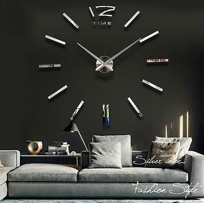 designer wanduhr wohnzimmer edelstahl wandtattoo deko xxl 3d eur 19 90 picclick de. Black Bedroom Furniture Sets. Home Design Ideas