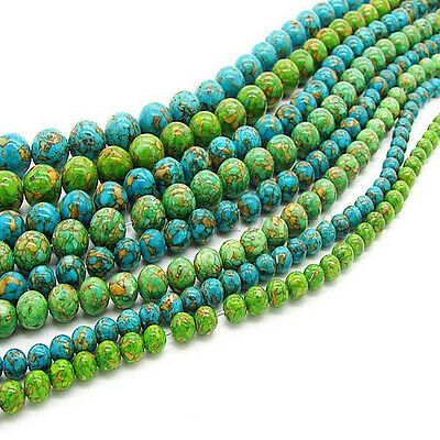 "16"" Natural Howlite Turquoise Gemstone Round Loose Beads 6MM 8MM 10MM 12MM 14MM"