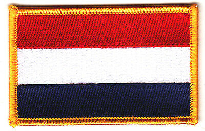 THE NETHERLANDS FLAG w/GOLD BORDER/Iron On Patch Applique/Europe, National Flag