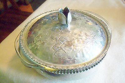 Hammered Aluminum Casserole With Pyrex Container Vintage
