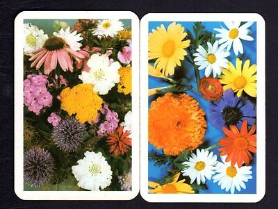 Vintage Swap/Playing  Cards - Colorful Flowers Pair