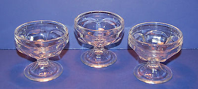 SET OF 3 ANTIQUE LOW SHERBET PRESSED FEDERAL GLASS FEG15 CLEAR DESSERTS (21-C)