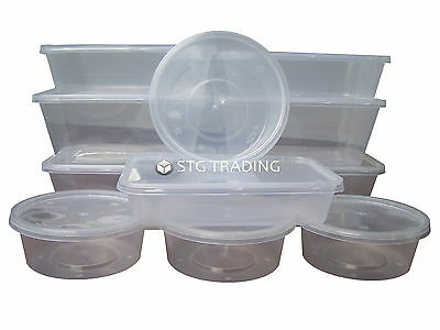 Plastic Containers Tubs Clear With Lids Microwave Food Safe Takeaway [All Sizes]