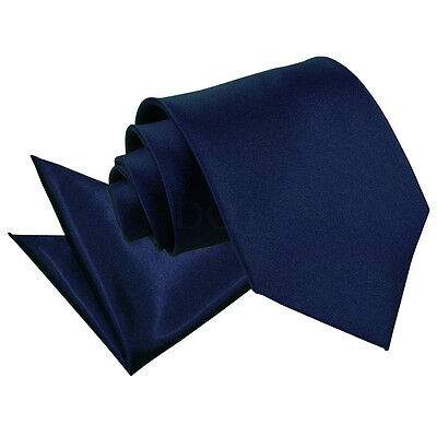 High Quality Neck Tie And Hanky Wedding Set - Navy Blue