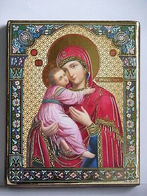 Icon of the Mother of God of Vladimir wood board икона богородица Владимирская