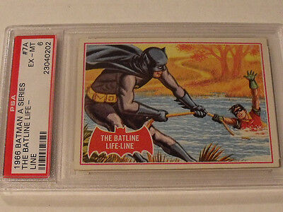 "1966 Topps BATMAN (A Series) Red Bat  #7A ""The Batline Life-Line"" - PSA 6 EX-MT"