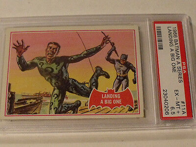 "1966 Topps BATMAN (A Series) Red Bat  #11A ""Landing A Big One"" - PSA 6.5 EX-MT+"