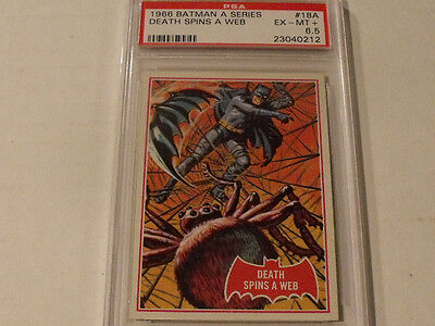 "1966 Topps BATMAN (A Series) Red Bat  #18A ""Death Spins A Web"" - PSA 6.5 EX-MT+"