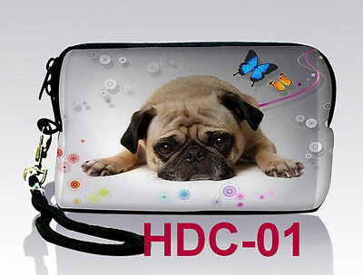 Cute Pug Neoprene Case Bag For Digital Camera Cell Phone Itouch Iphone 3S 4S 5
