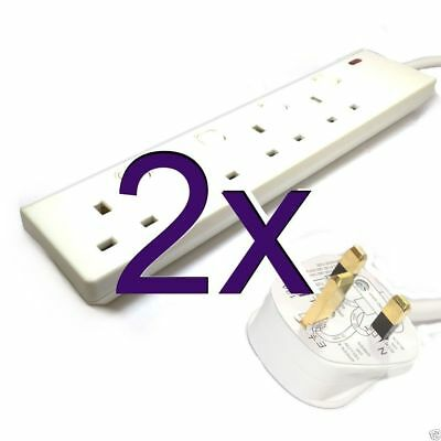 [2 pack] 4 Way Gang Individually Switched UK Mains Extension Lead White 3m [0055