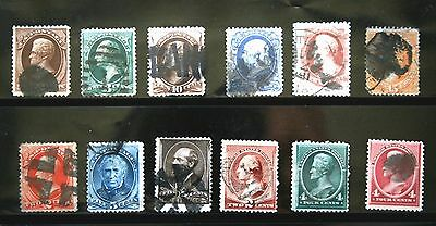 RICHNVIC7:   US STAMPS  --  19th CENT. USED,   12  DIFF. STAMPS,    CV$350