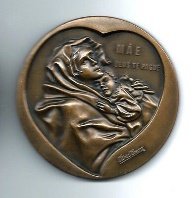 BRONZE MEDAL / MOTHER & CHILD ART / MAE DEUS TE PAGUE / 90 mm / M25