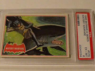 "1966 Topps BATMAN (A Series) Red Bat  #37A ""Watery Warfare""  PSA 6 EX-MT - Rare!"