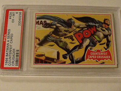 "1966 Topps BATMAN (A Series) Red Bat  #42A ""Counterfeit Caped Crusader""  PSA 6"