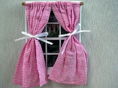 Pink & White Checked Curtains Dolls House Miniatures home decor furnishing