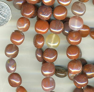 "PIGEON BLOOD AGATE (UTAH) 10mm Squared Puffy Discs 16"" strand Rare, Collectible!"
