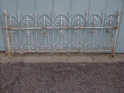 Antique French Wrought Iron Fence Gate Headboard Sculpture Art Garden Gothic