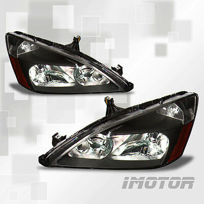 03-07 HONDA ACCORD 2/4DR JDM BLK/CLEAR AFTERMARKET CRYSTAL HEADLIGHTS LAMPS
