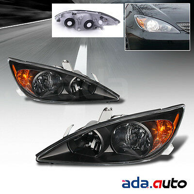 2002-04 CAMRY JDM BLK/AMBER CRYSTAL HEADLIGHTS LAMPS ASSEMBLY SET