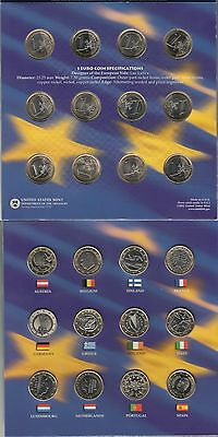 Euro Coin Collection of 12 Countries 1 Euro & 5 25 Cent State Quarters USA BU