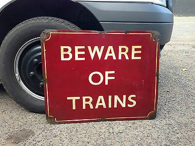Extra Large Beware Of Trains Hand Painted Metal Sign