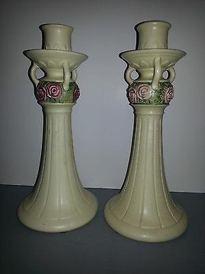 Vintage Weller Roma Candlesticks Pottery (2)