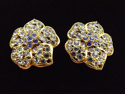 Nolan Miller Blue Crystal Flower Gold Clip On Earrings